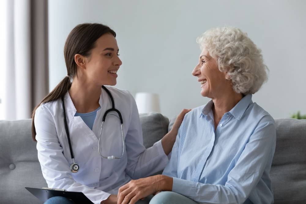 Senior woman talking with her doctor