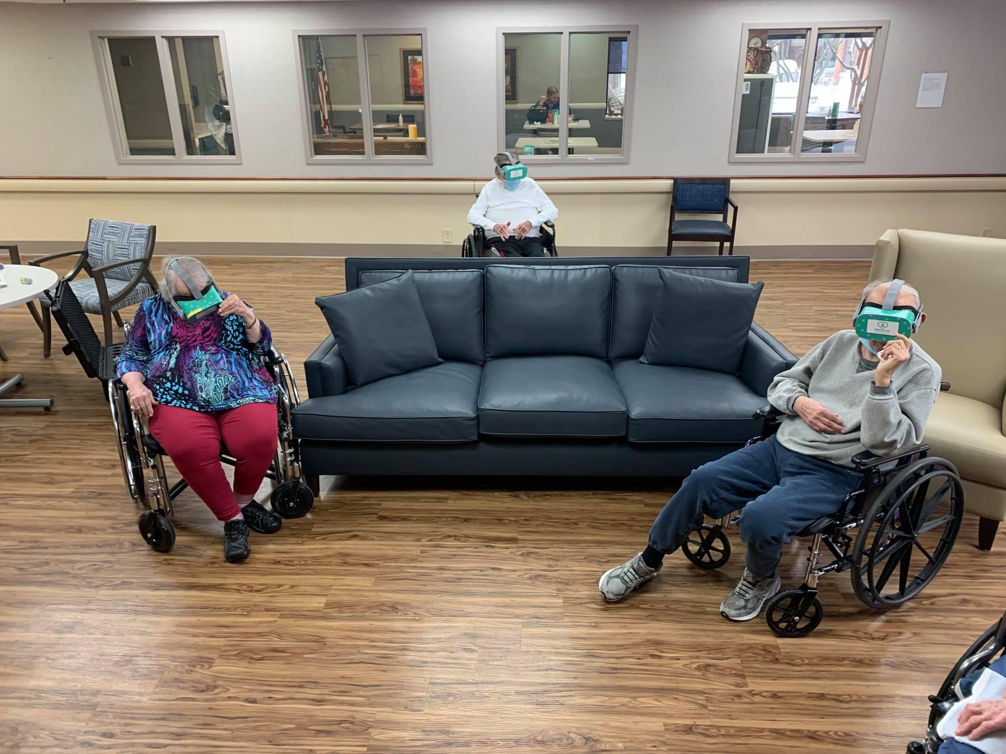 Group of seniors at Beacon Hill using virtual reality